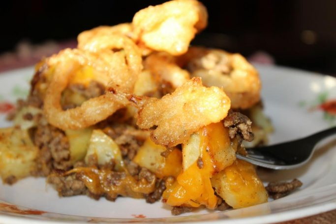 Cheeseburger Hash with Crispy Onions | EverydayMadeFresh.com
