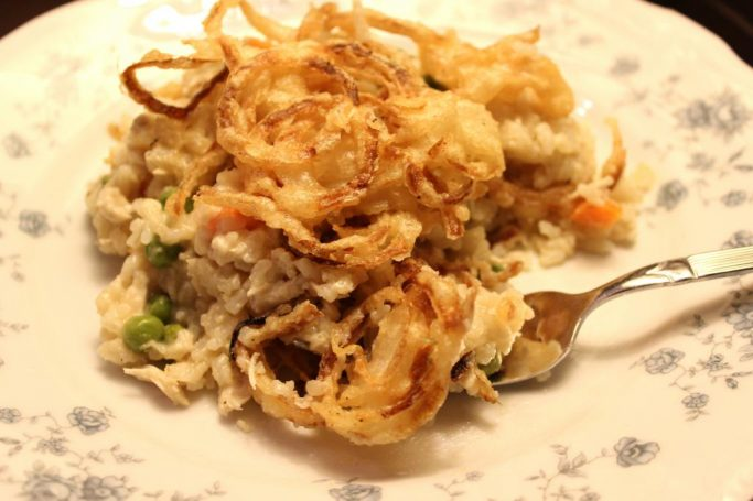 Chicken and Rice Bake Topped with Crispy Onions