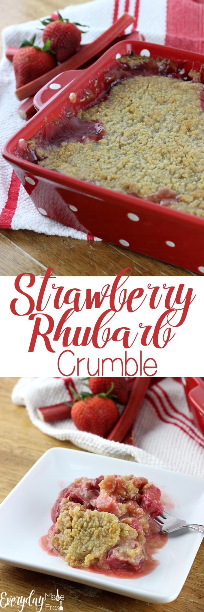 Paired with strawberries and topped with a delicious sugary crumb topping, this Strawberry Rhubarb Crumble will have you a fan in no time! Unless your already a fan and then you'll just be happy to have another scrumptious rhubarb recipe in your arsenal. | EverydayMadeFresh.com