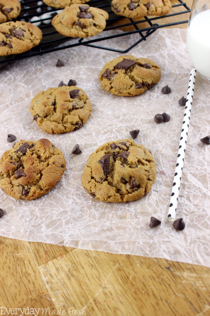 Perfectly Chew Peanut Butter Chocolate Chip Cookies are easy to make, flour free, and have that perfect chewy cookie texture! | Everydaymadefresh.com