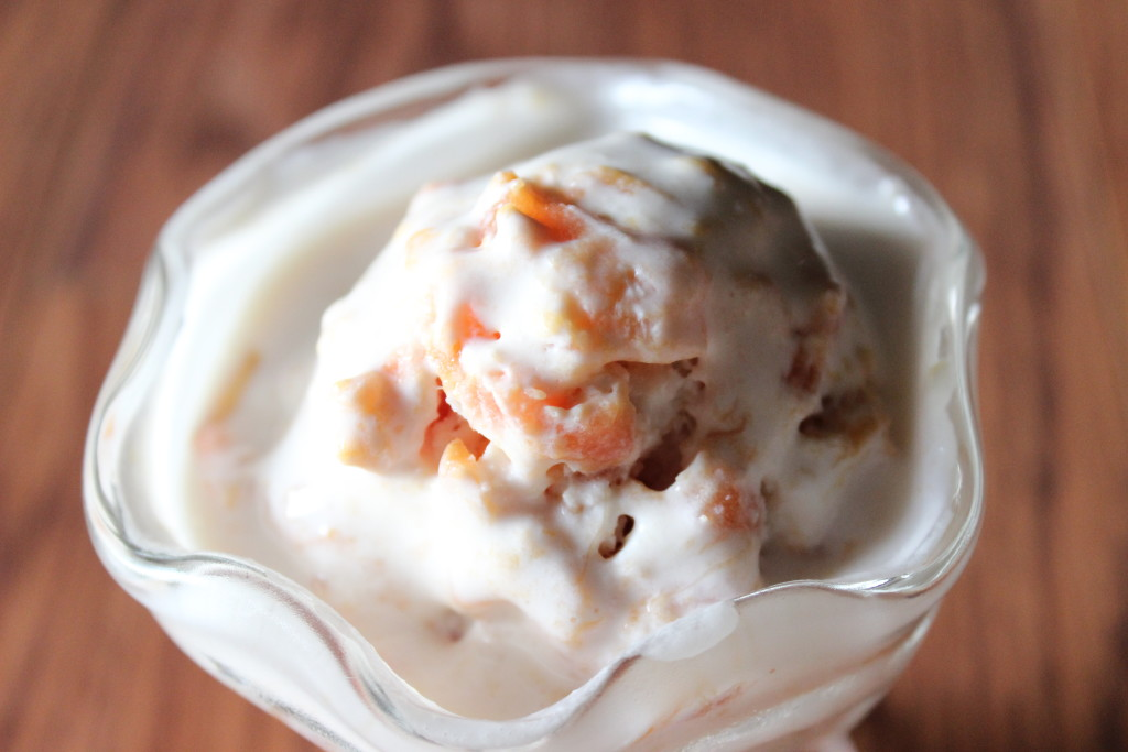 Fresh peaches straight from Chilton County Alabama always calls for peach ice cream!