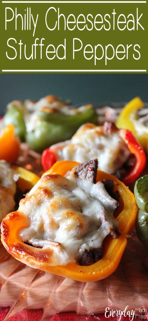 Philly Cheesesteak Stuffed Peppers are a different take on the classic cheesesteak. A lower carb version of your favorite, that anybody will enjoy. | EverydayMadeFresh.com