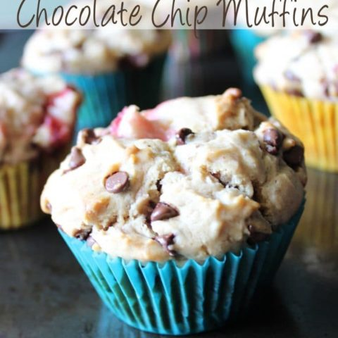 Chunks of fresh strawberries, hints of peanut butter, and chocolate chips make these strawberry peanut butter chocolate chip muffins the perfect muffin!
