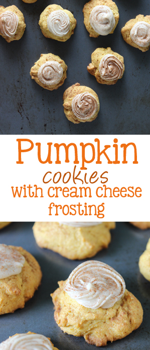 Pumpkin cookies with cream cheese frosting are soft little pillows of pumpkin goodness, topped with a spiced cream cheese frosting that trumps all other pumpkin cookies!   EverydayMadeFresh.com
