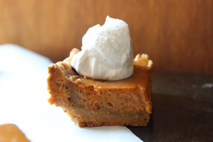 Pumpkin pie like squares with just the right amount of spice, topped upon a crust that resembles the flavors of a sugar cookie, these pumpkin spice squares are perfect!   EverydayMadeFresh.com