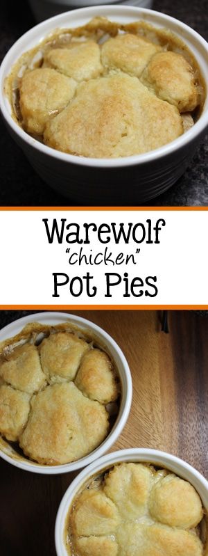 "Halloween is right around the corner, so why not celebrate with this fun twist, Warewolf ""chicken"" Pot Pies! The pot pies are topped with homemade biscuits, that are two different sizes to give the allusion of a paw print! The kids will love these! 