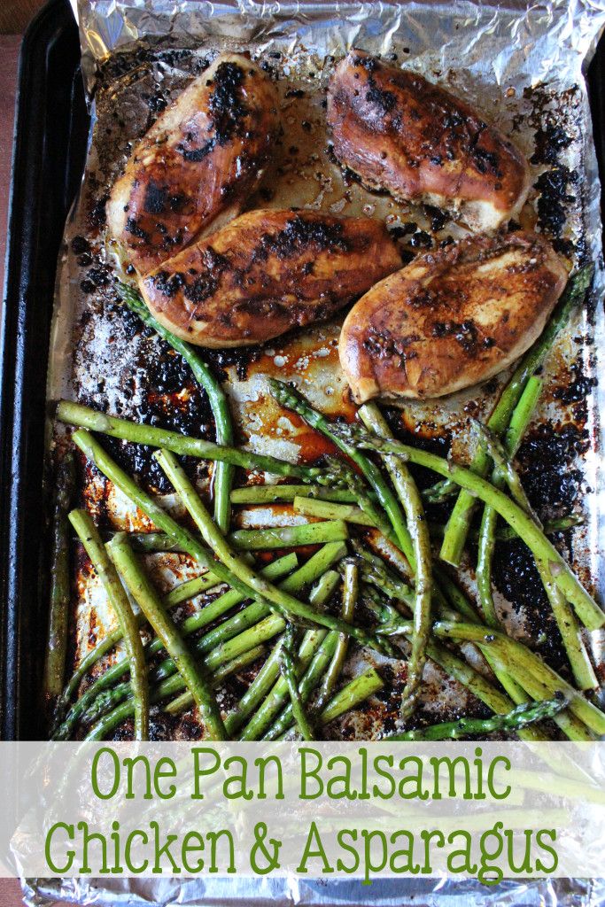 Slightly tangy and sweet hints from the balsamic vinegar with fresh garlic, chicken baked to perfection, with a roasted asparagus in one pan that makes this One Pan Balsamic Chicken and Asparagus dish that is a family pleaser.   EverydayMadeFresh.com