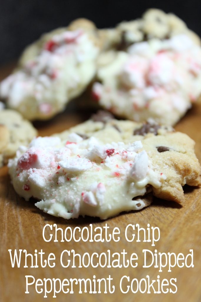 Chocolate Chip White Chocolate Dipped Peppermint Cookies