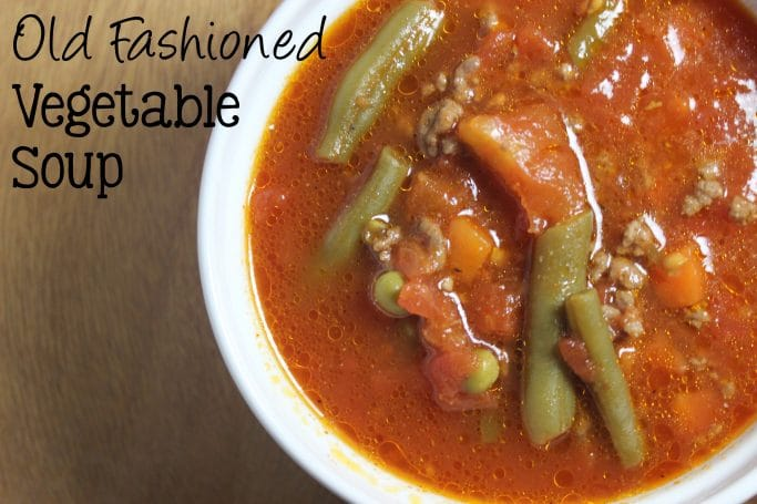 Old Fashioned Vegetable Soup, the way grandmother used to make it with lot's of vegetables, hamburger meat, in a tomato broth that makes this soup remind you of your childhood. | EverydayMadeFresh.com