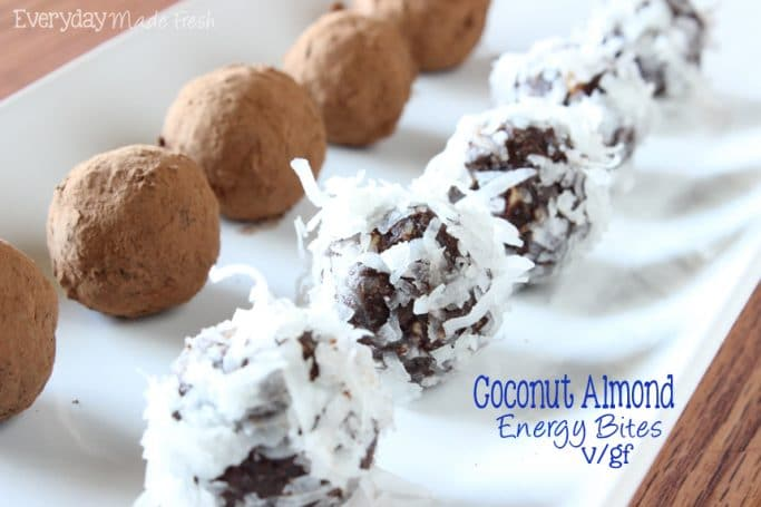 Created with cocoa dusted almonds, flakes of sweetened coconut, cocoa powder, vanilla, and sweetened with dates! These Coconut Almond Energy Bites are a simple no bake treat to enjoy without feeling guilty. | EverydayMadeFresh.com