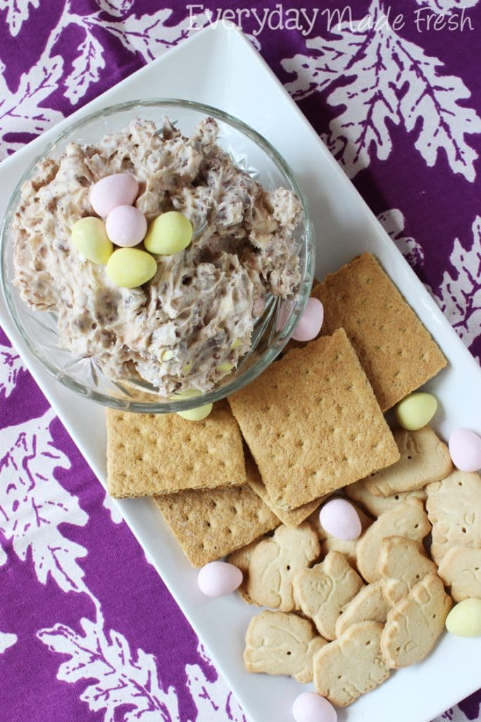 Cadbury Mini Egg Cookie Dip is made with powdered sugar, cream cheese, and those scrumptious Cadbury Mini Eggs! | EverydayMadeFresh.com