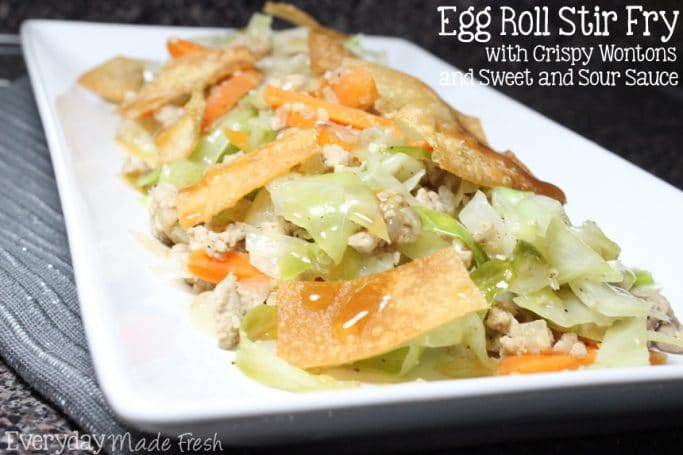 This Egg Roll Stir Fry with Crispy Wontons and Sweet and Sour Sauce is basically a deconstructed Egg Roll. Get all your favorite flavors in a quick fix week night meal! | EverydayMadeFresh.com
