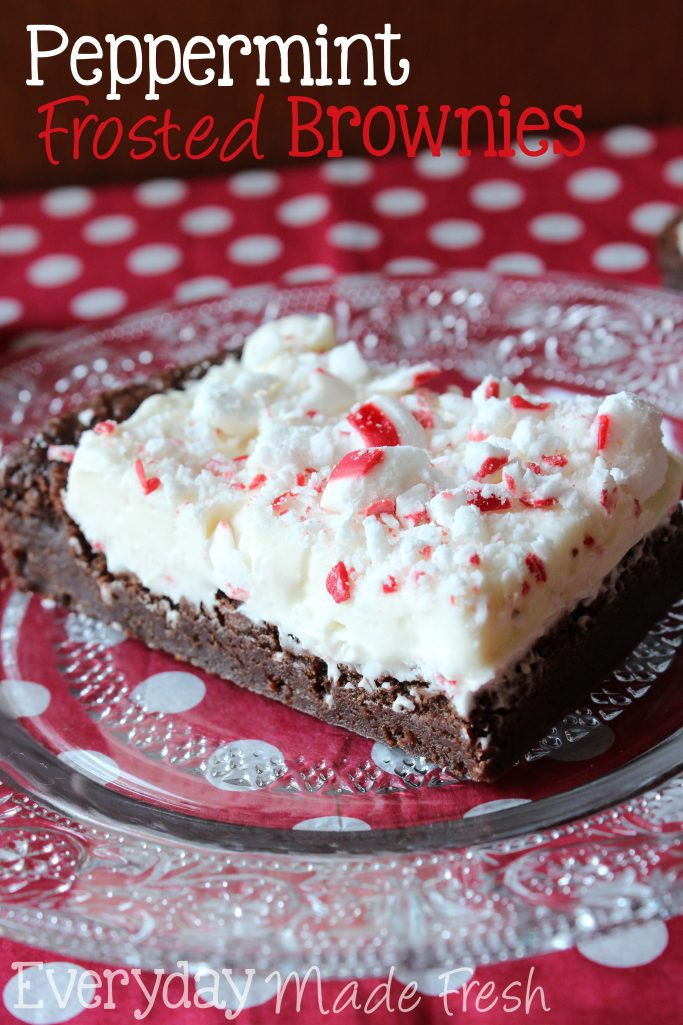 Peppermint Frosted Brownies   EverydayMadeFresh.com