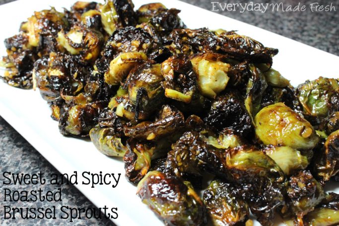 Sweetened with duck sauce and spiced up with picante hot sauce, these Sweet and Spicy Roasted Brussel Sprouts make a delicious side dish to almost anything. | EverydayMadeFresh.com