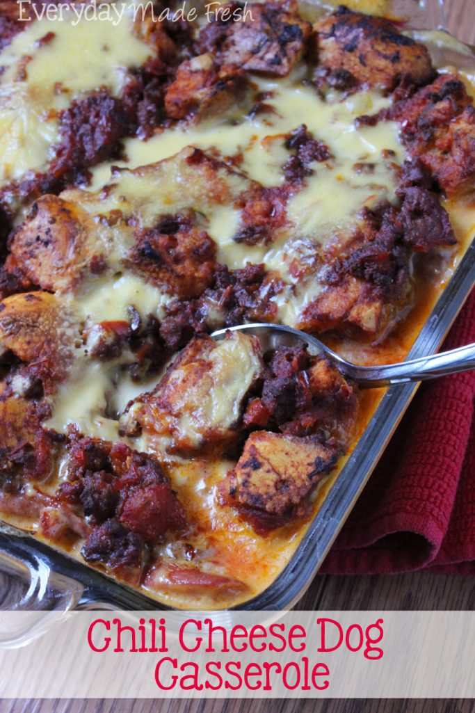 The ultimate junk food turned dinner in the form of a yummy casserole! Your whole family will love this version of the Chili Cheese Dog Casserole.   EverydayMadeFresh.com