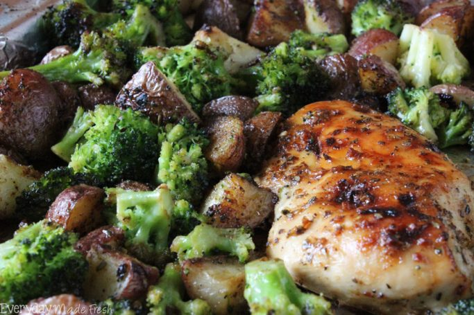 One Pan Chicken and Broccoli is sweet and juicy; perfect for any night of the week!   EverydayMadeFresh.com