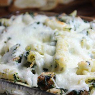 Spinach Dip Chicken Pasta Bake