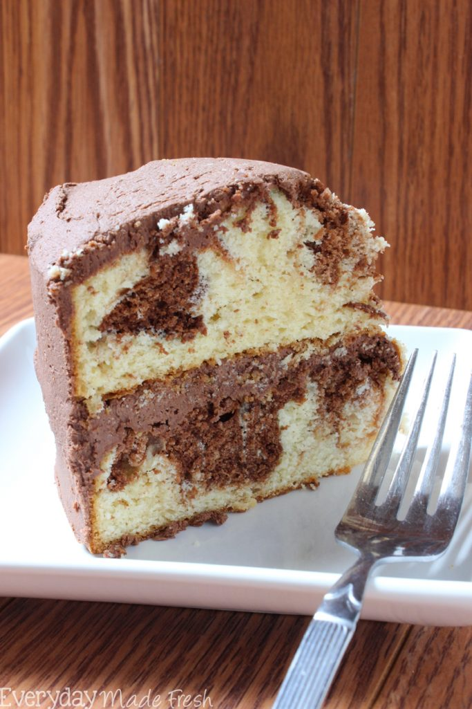 The Best Marble Cake with Chocolate Buttercream is better than any bakery cake you can buy. Plus, it's so simple to make! | EverydayMadeFresh.com