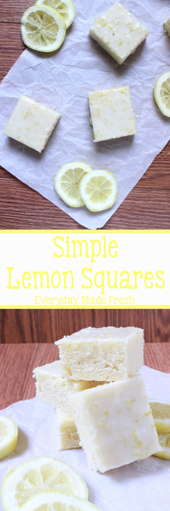 Slightly sweet and slightly tangy, these Simple Lemon Squares are the perfect little sweet treat anytime! | EverydayMadeFresh.com