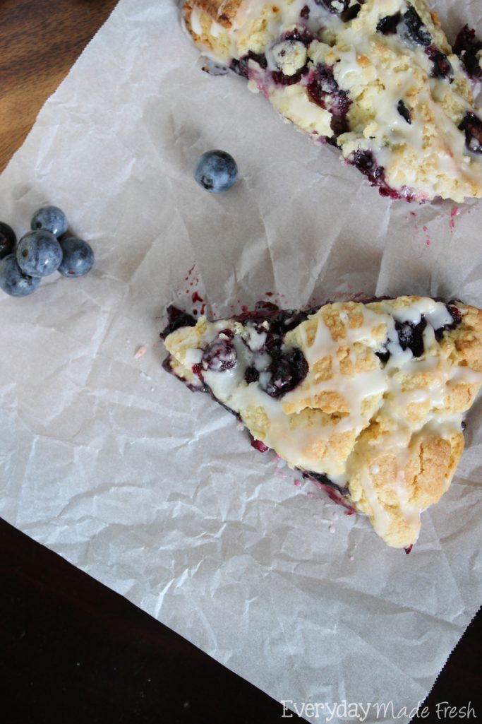 Fresh plump blueberries and lemon zest come together to make the tastiest scone! You'll want these Blueberry Lemon Scones for breakfast all the time! | EverydayMadeFresh.com