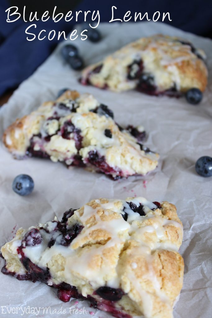 Fresh plump blueberries and lemon zest come together to make the tastiest scone! You'll want these Blueberry Lemon Scones for breakfast all the time! | EverdayMadeFresh.com