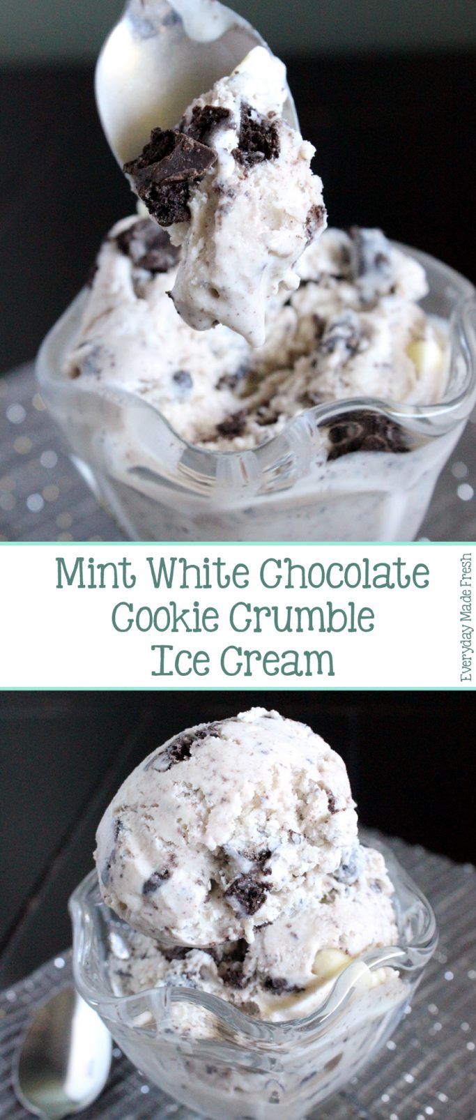 Everyone will want to fill their bowls with this Mint White Chocolate Cookie Crumble Ice Cream. Creamy homemade vanilla ice cream swirled with white chocolate and mint chocolate cookies make this ice cream taste like Christmas! | EverydayMadeFresh.com