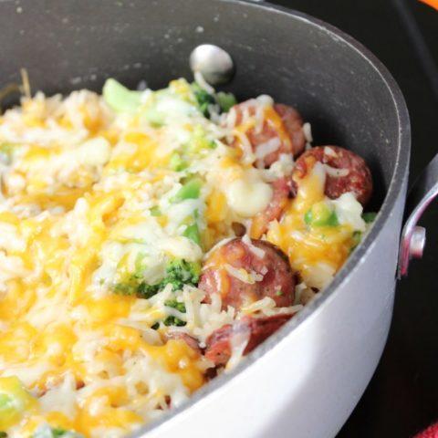 One Pan Sausage Rice and Broccoli