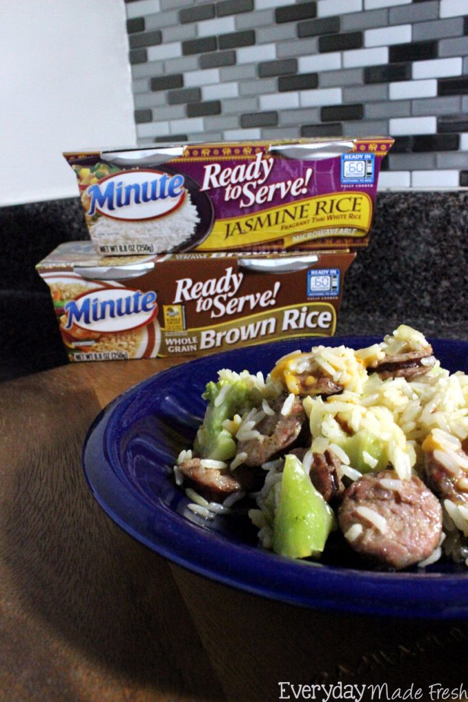 AD This One Pan Sausage Rice and Broccoli is a breeze to make and clean-up is no problem at all! #MixInMinute   EverydayMadeFresh.com