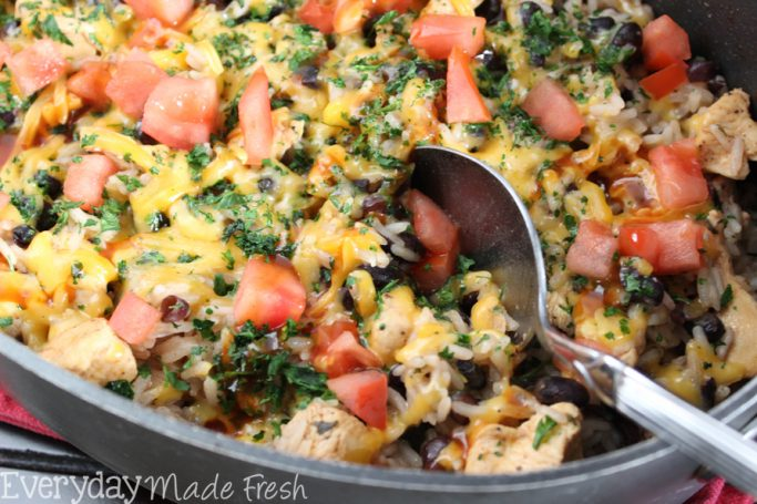 BBQ Ranch Chicken Skillet is a family pleasing one pan meal that is great for weeknights when time is of the essence!    EverydayMadeFresh.com