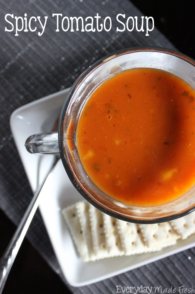 This Spicy Tomato Soup is a quick soup that will be ready in no time, and loved by the whole family!   EverydayMadeFresh.com