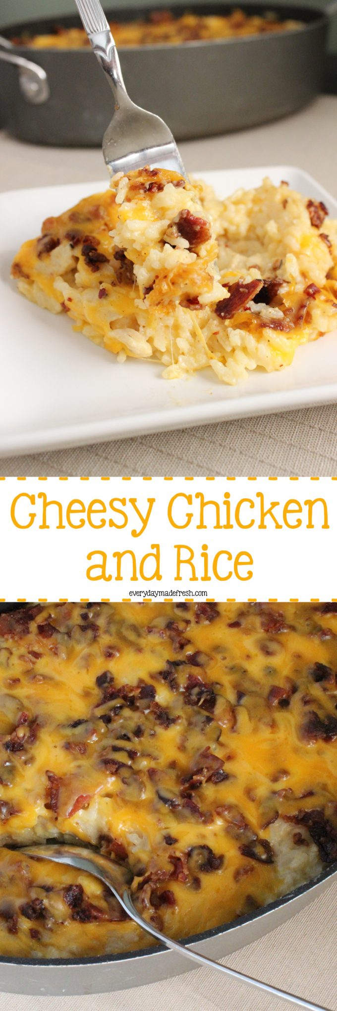 Crispy bacon, a cheesy sauce, chunks of chicken - this Cheesy Chicken and Rice Casserole is the ultimate in comfort food! | EverydayMadeFresh.com