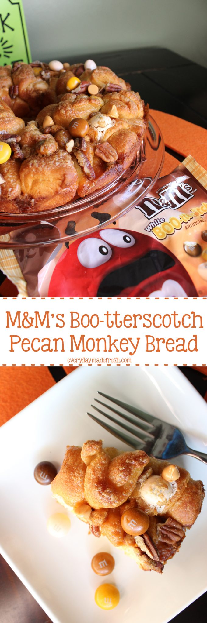 M&M's Boo-tterscotch Pecan Monkey Bread is sticky and sweet, and makes the perfect holiday treat! #SpookyTreats #ad | EverydayMadeFresh.com