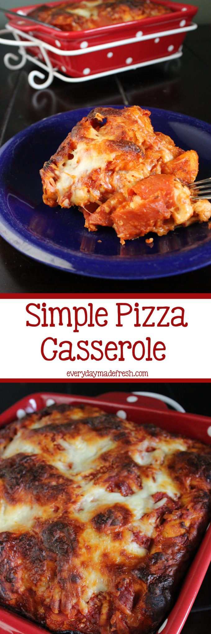 This Simple Pizza Casserole is made quick, using canned biscuits, cheese, and any of your favorite toppings. If will be your family's choice for pizza night!