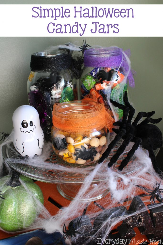 Simple Halloween Candy Jars #SpookyTreats #ad | EverydayMadeFresh.com