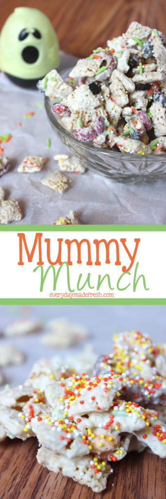 Simple to make, and ready in less than 10 minutes, this fun Mummy Munch is a Halloween Chex Mix that is sure to be a hit with everybody! | EverydayMadeFresh.com
