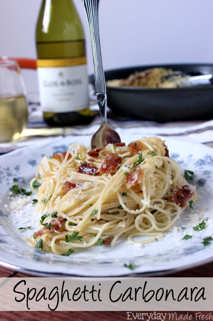 Spaghetti Carbonara is a fancy sounding pasta dish that is simple to prepare. Ready in less than 25 minutes, and requires literally a handful of fresh ingredients.  | EverydayMadeFresh.com