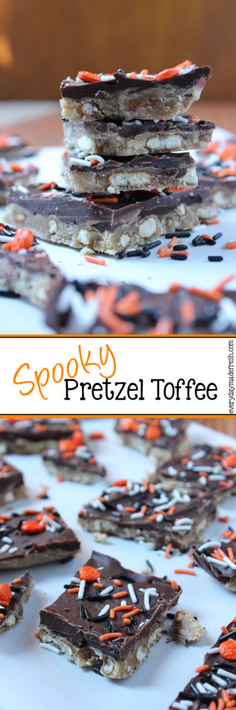 This simple Spooky Halloween Pretzel Toffee is the perfect sweet and salty combination for Halloween! | EverydayMadeFresh.com