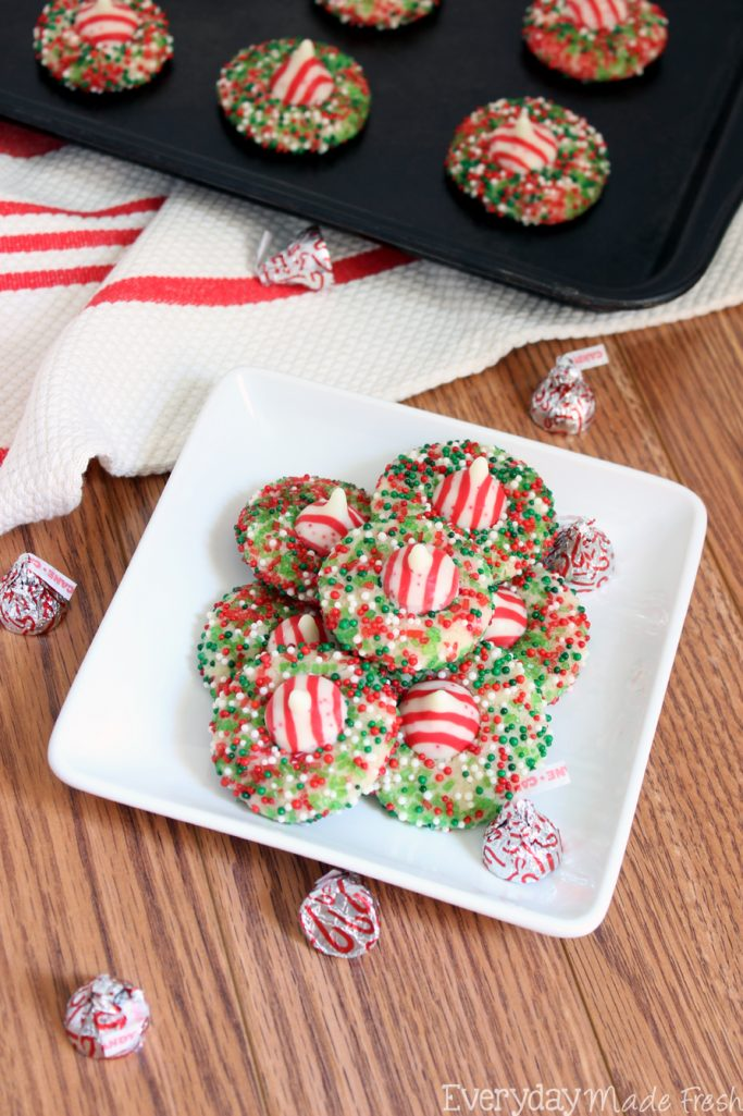 Sure to become your favorite Christmas cookie, these Peppermint Crunch Sugar Cookies are so easy to make, super fun, and quite tasty!   EverydayMadeFresh.com