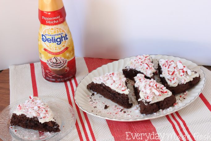These Peppermint Mocha Scones are made with coffee, chocolate, and peppermint mocha creamer - you can't get any better than this! #DelightfulMoments #ad   EverydayMadeFresh.com