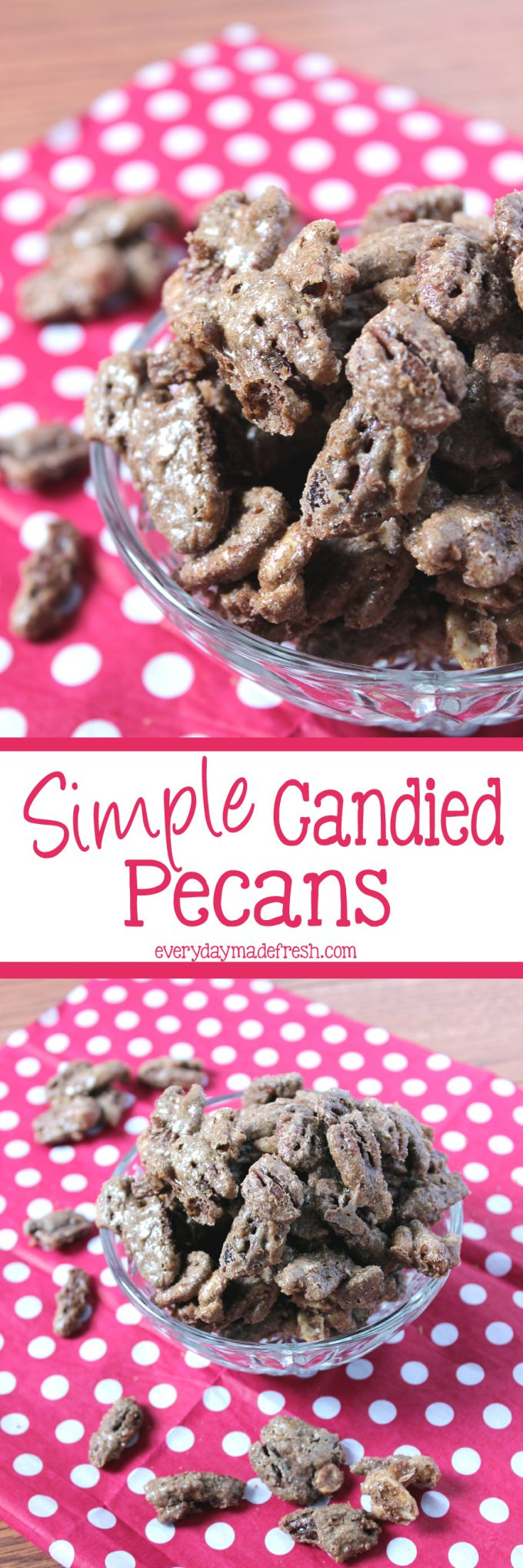 You won't believe how simple these Simple Candied Pecans are to make, using only 5 ingredients!   EverydayMadeFresh.com