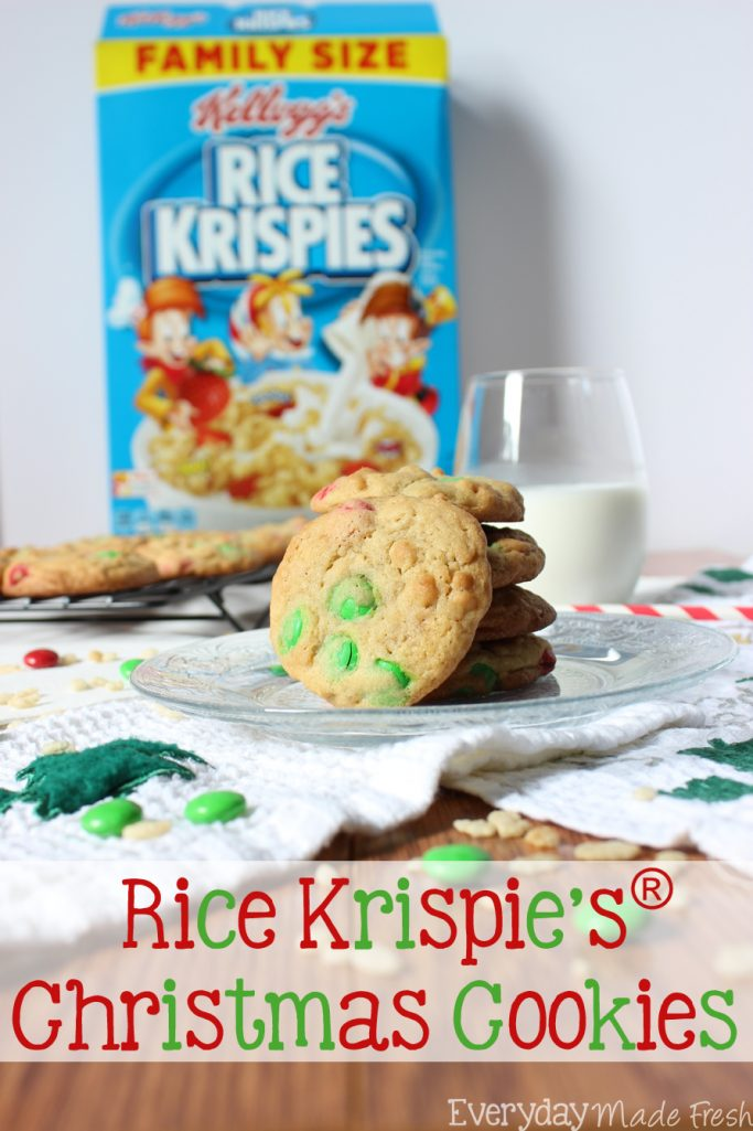 These Rice Krispies® Christmas Cookies have the perfect texture - soft, chewy, and crispy! With a hint of vanilla and candy coated chocolate candies, these make for a simple treat during the holidays. | EverydayMadeFresh.com