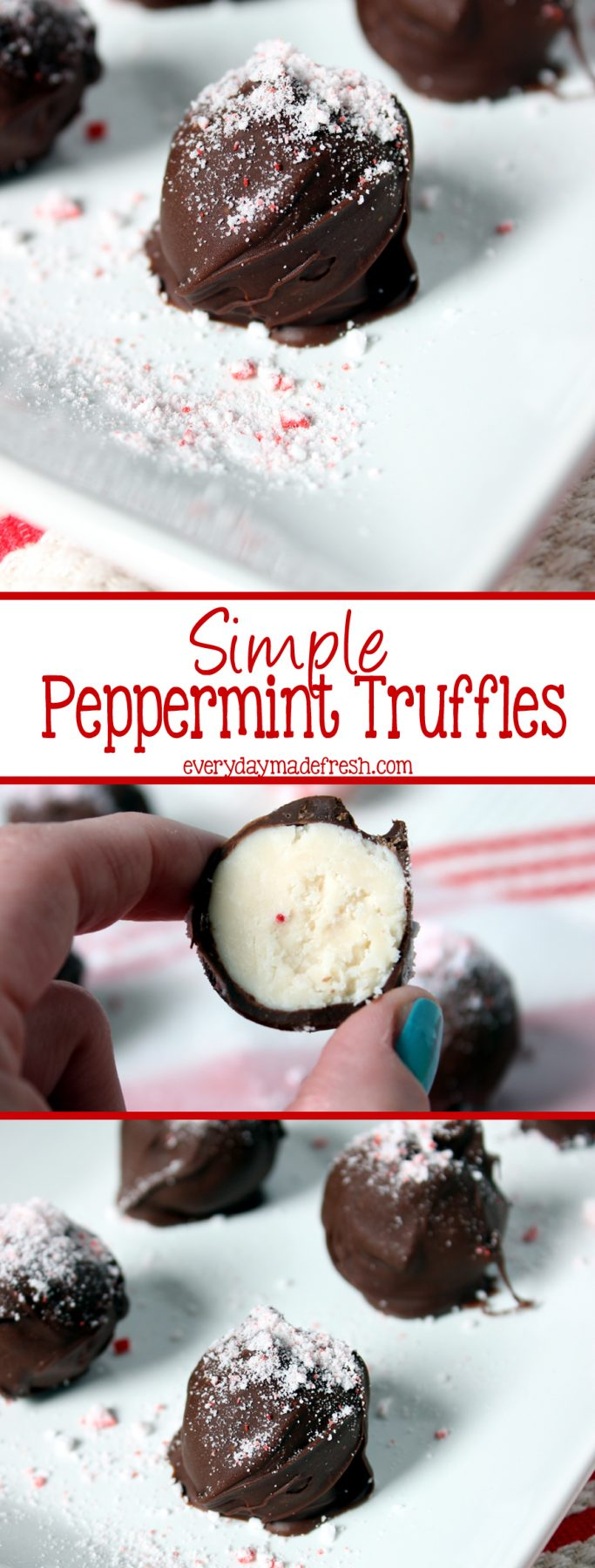 A few ingredients are all you need to make these Simple Peppermint Truffles. Soft and creamy on the inside, with a perfect chocolate shell. | EverydayMadeFresh.com