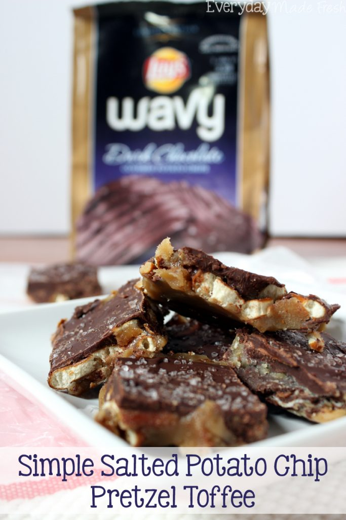 Sweet, salty, crunchy, and chewy this Simple Salted Potato Chip Pretzel Toffee will have you coming back for more!  | EverydayMadeFresh.com