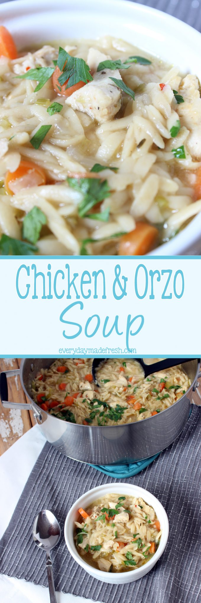 Take the noodles out of the soup, because this Chicken and Orzo Soup is the best thing that ever happened!   EverydayMadeFresh.com