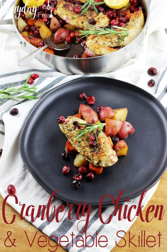 Nothing says winter quite like cranberries! Which is why this Cranberry Chicken & Vegetable Skillet is perfect to enjoy while they are still in season. | EverydayMadeFresh.com