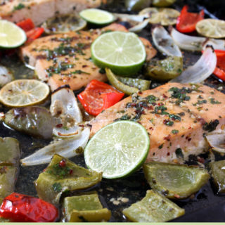 One Pan Fajita Flavored Salmon is a simple and healthy weeknight meal! If you love the flavors of fajitas, you're going to love this dish. | EverydayMadeFresh.com