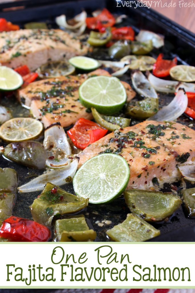 One Pan Fajita Salmon is a simple and healthy weeknight meal! If you love the flavors of fajitas, you're going to love this dish. | EverydayMadeFresh.com