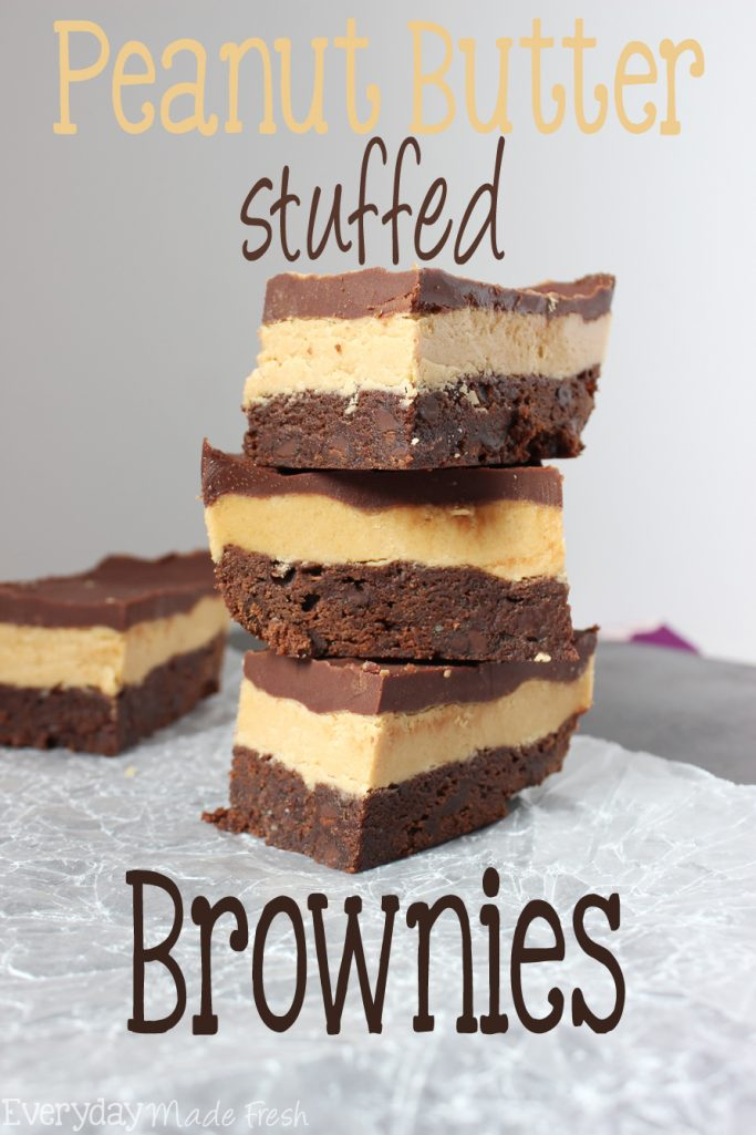 Doctor up your favorite boxed brownie mix, with this easy recipe for Peanut Butter Stuffed Brownies. You get 3 decadent layers, fudgy chewy brownie, thick and luscious peanut butter, topped with a chocolate ganache. | EverydayMadeFresh.com