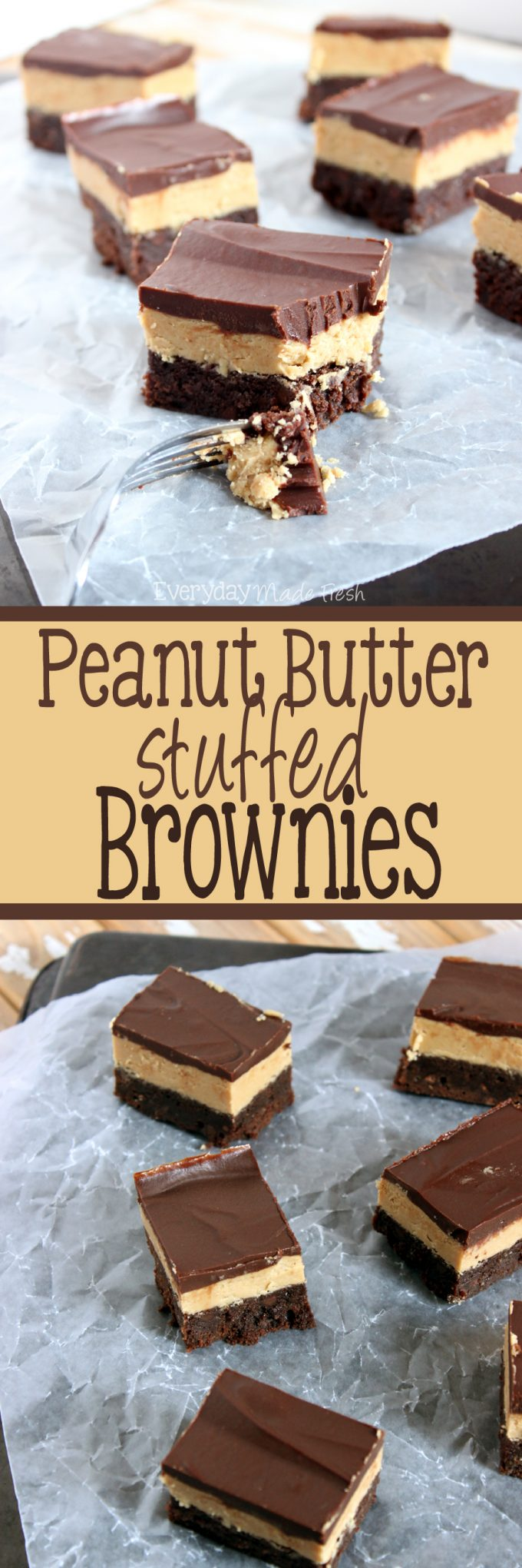 Peanut Butter Stuffed Brownies really don't need any introduction, the name says it all!   EverydayMadeFresh.com
