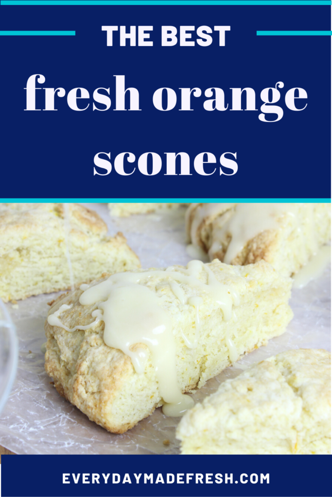 These Fresh Orange Scones are studded with zest and bursting with bright orange flavor! They are the perfect marriage between sweet and tangy flavors. #easyorangescones #glazedorangescones | EverydayMadeFresh.com